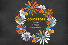 Load image into Gallery viewer, Vivid Pop Color Flowers Clipart Set - slslines