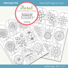 Load image into Gallery viewer, Printable Coloring: Floral Gift Tags