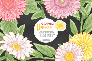 Daisy Graphic Set in Pink, White & Yellow
