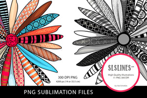 Beautiful Colorful Daisy Set PNG Sublimation Files