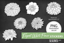 Load image into Gallery viewer, Printable Stickers: Elegant White Flowers