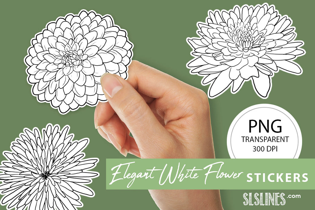 Printable Stickers: Elegant White Flowers