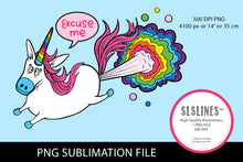 Load image into Gallery viewer, Farting Rainbow Unicorn PNG sublimation