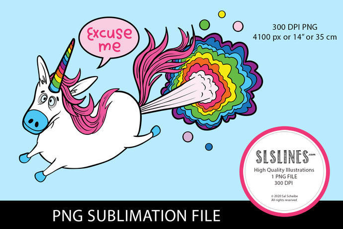 Farting Rainbow Unicorn PNG sublimation