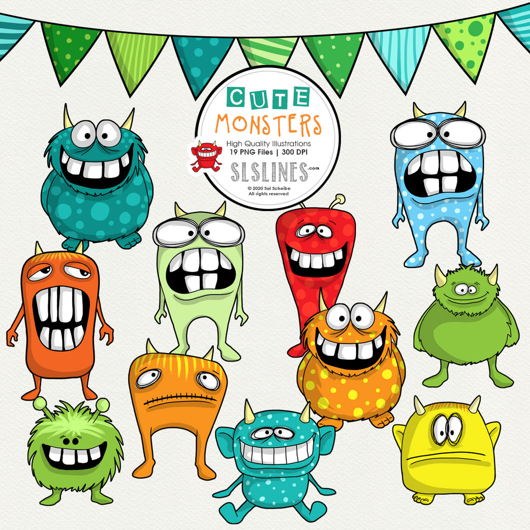 FREE Cute Little Monsters Clipart Set