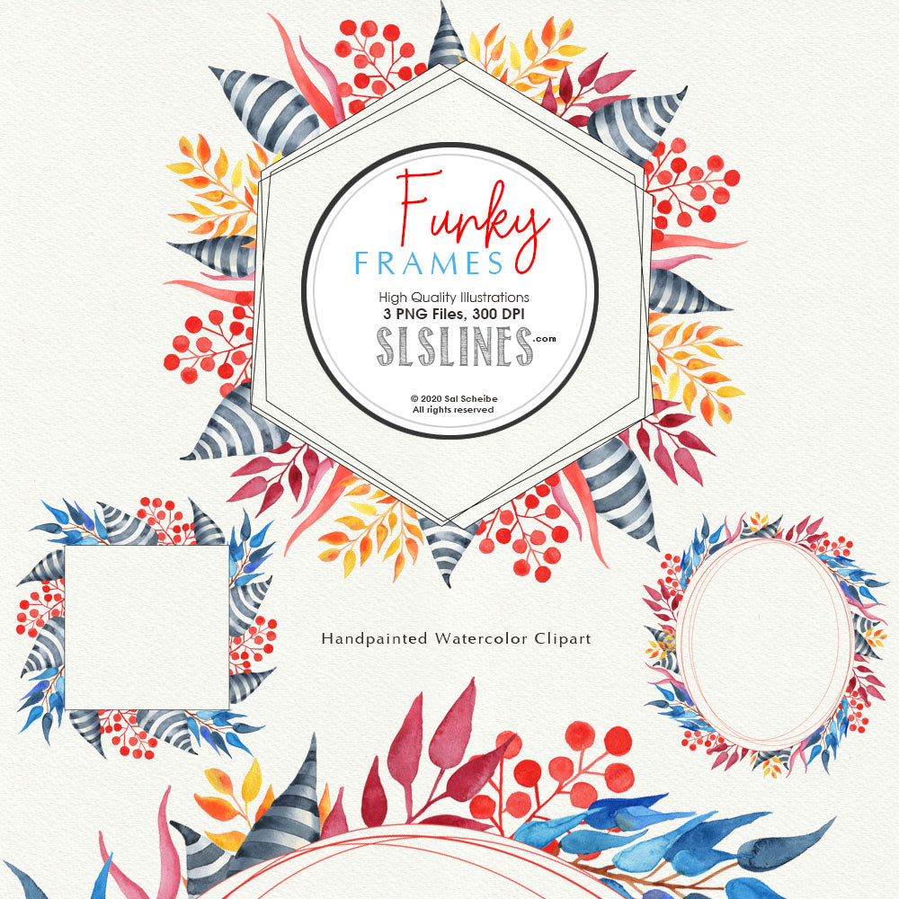 FREE Funky Frames Watercolor Clipart