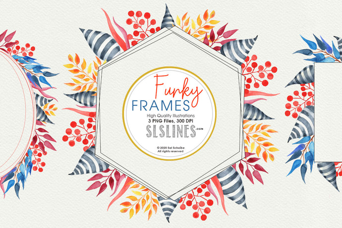 Funky Frames Watercolor Clipart