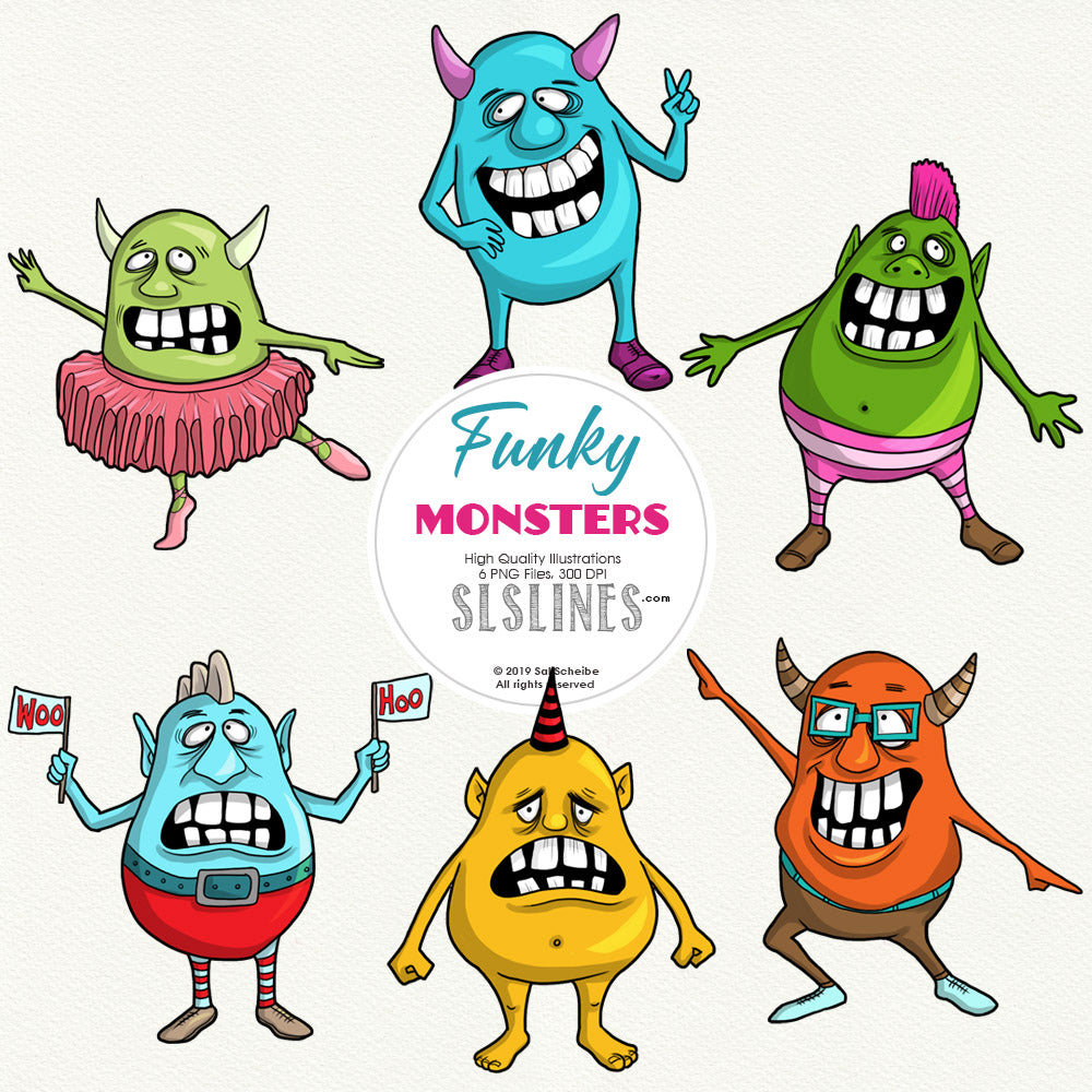 FREE Funky Monsters Clipart Set