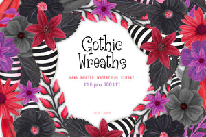 Gothic Floral Wreaths Watercolor Clipart