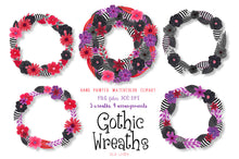 Load image into Gallery viewer, Gothic Floral Wreaths Watercolor Clipart - slslines
