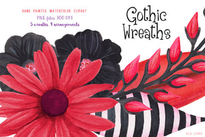 Gothic Floral Wreaths Watercolor Clipart - slslines