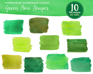 Green Watercolor Boxes & Rectangle Shape Clipart - slslines