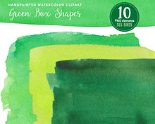 Load image into Gallery viewer, Green Watercolor Boxes & Rectangle Shape Clipart - slslines