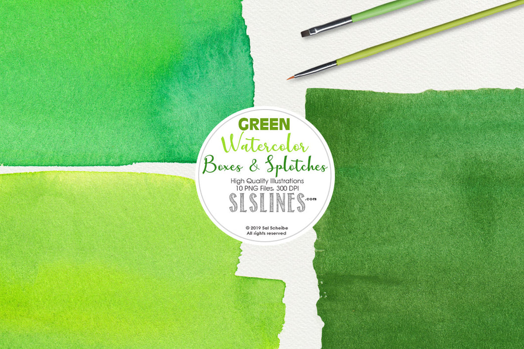 Green Watercolor Boxes & Rectangle Shape Clipart