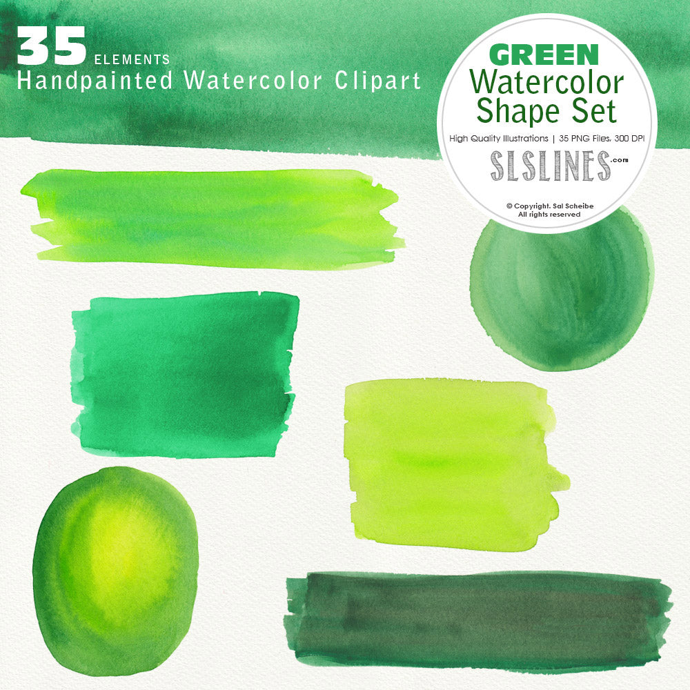Green Watercolor Shape Set: Balls, Boxes & Stripes - slslines