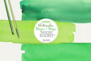 Green Watercolor Headers and Strips Clipart