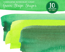 Load image into Gallery viewer, Green Watercolor Headers and Strips Clipart - slslines