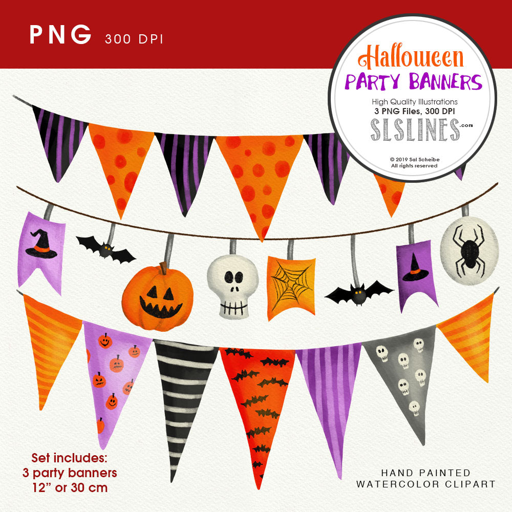 Halloween banners clipart PNGs
