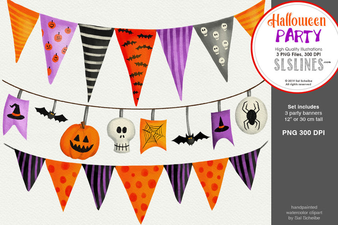Halloween Party: 3 Spooky Party Banners PNG