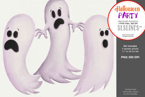 Halloween Party: A Set of Ghosts Clipart