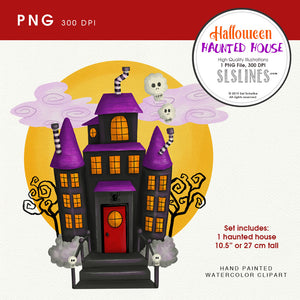Halloween Party: Haunted house in moonlight clipart
