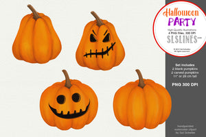 Halloween Party: 4 Watercolor Pumpkins Clipart
