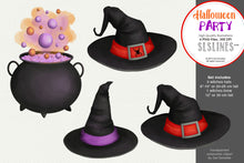 Load image into Gallery viewer, Halloween Party: Witches Hat & Brew Clipart