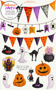 Halloween Party Ghosts, Pumpkins Spooky Clipart