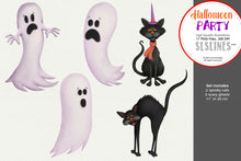 Load image into Gallery viewer, Halloween Party Ghosts, Pumpkins Spooky Clipart