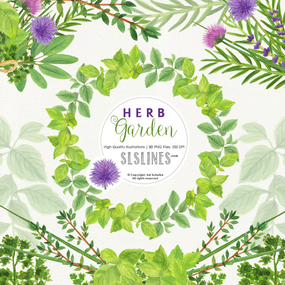 Herb Garden & Herb Wreaths Watercolor Clipart - slslines