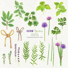 Load image into Gallery viewer, Herb Garden & Herb Wreaths Watercolor Clipart - slslines