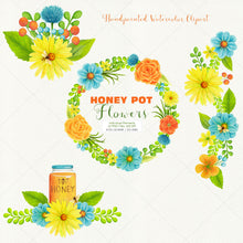 Load image into Gallery viewer, Honey Pot Flowers & Bees  Watercolor Clipart - slslines
