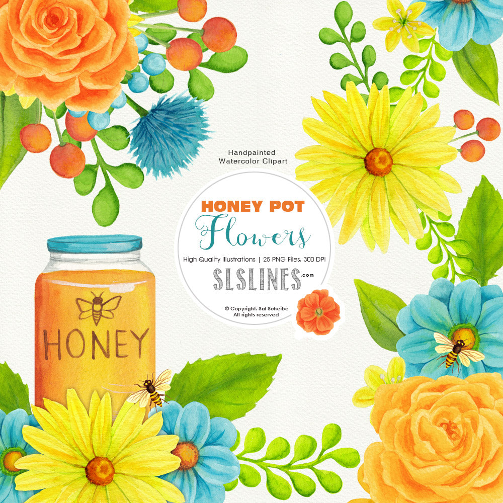 Honey Pot Flowers & Bees  Watercolor Clipart - slslines