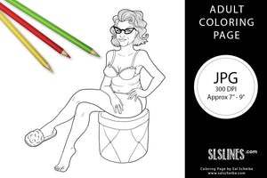 Printable ADULT Coloring Page: Hot Mama