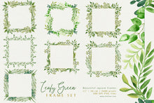Load image into Gallery viewer, Leafy Green Geometric Frame Set