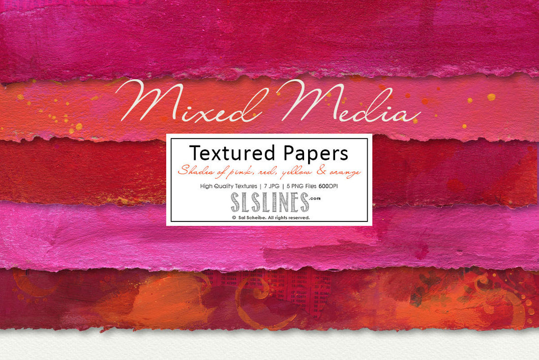 Mixed Media Backgrounds in Pink, Orange, Red & Yellow