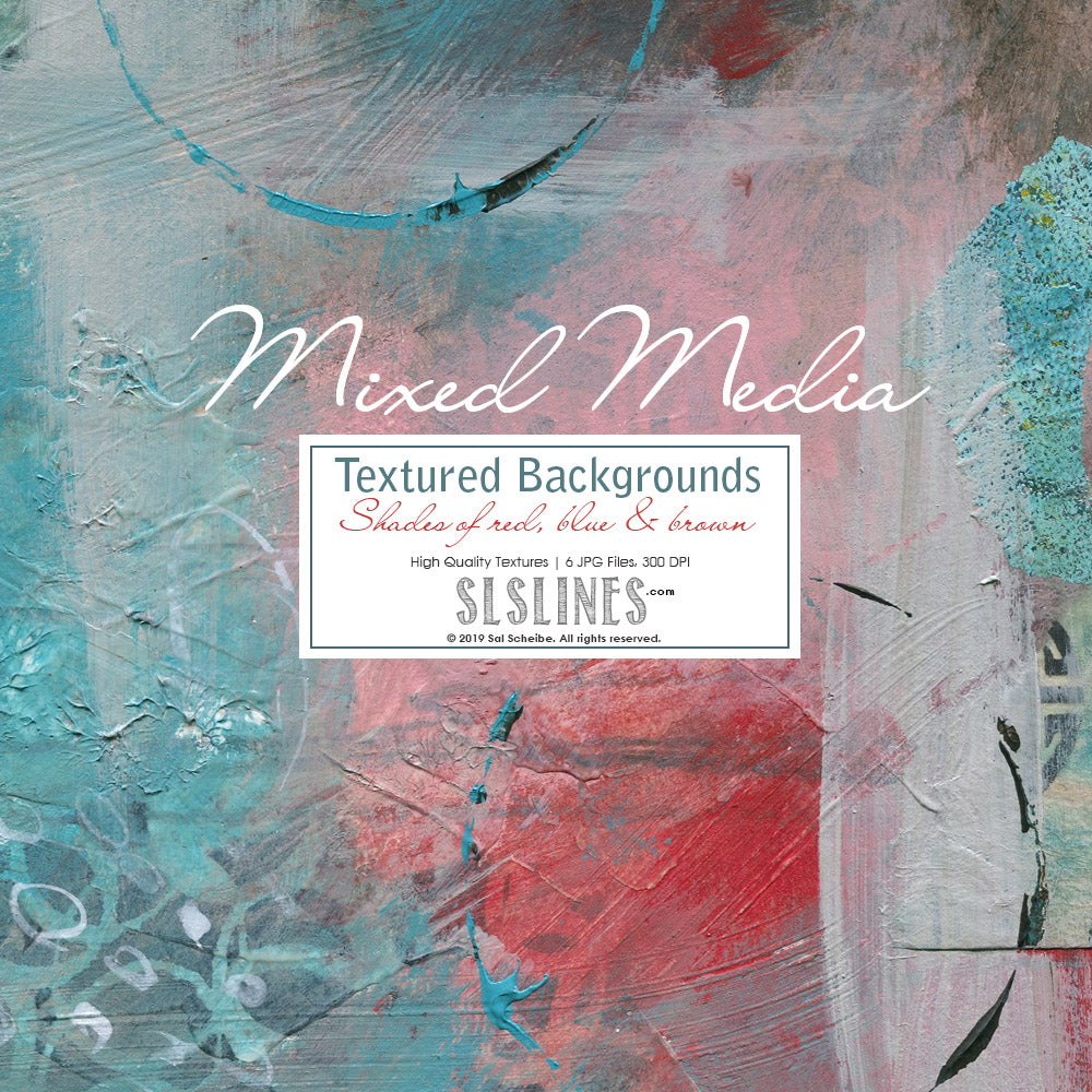 Mixed Media Backgrounds in Red, Brown & Blue