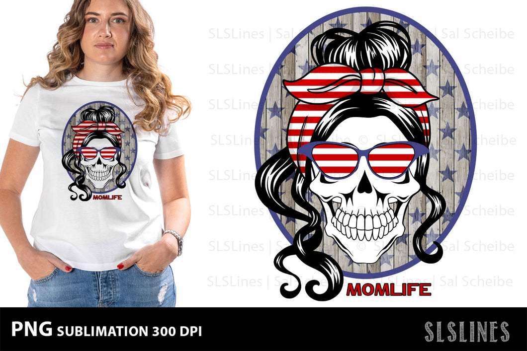 Momlife American Patriot Wood PNG sublimation