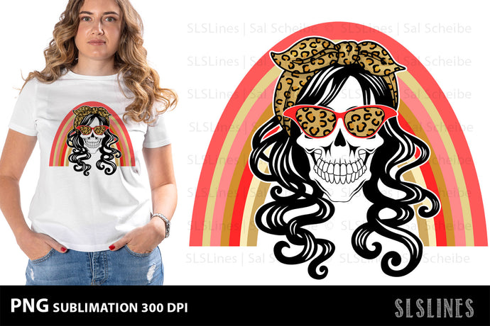 Mom Skull PNG Sublimation with Leopard Print & Rainbow