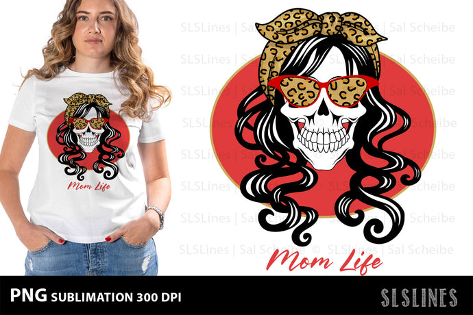 Mom Life Skull PNG Sublimation with Leopard Print & Red