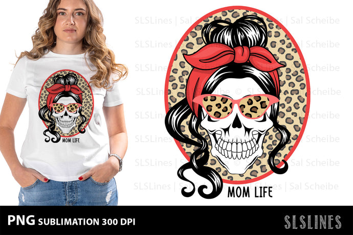 MomLife Skull PNG Sublimation with Leopard Print Background