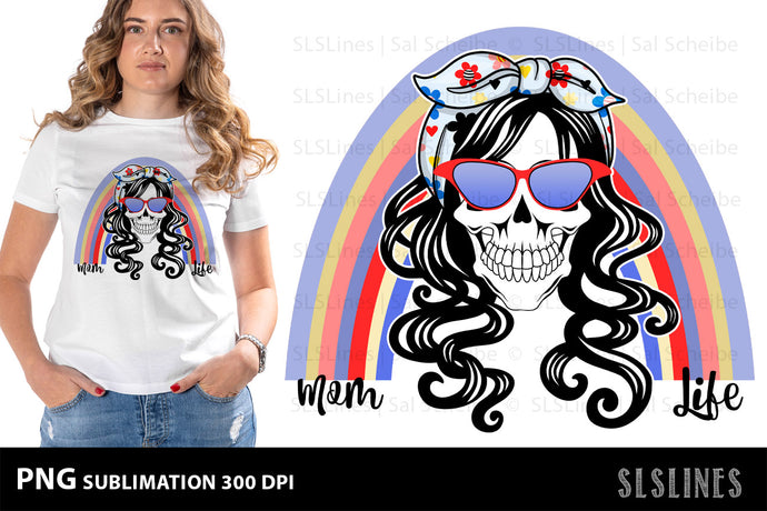 MomLife Skull PNG Sublimation with Blue Rainbow