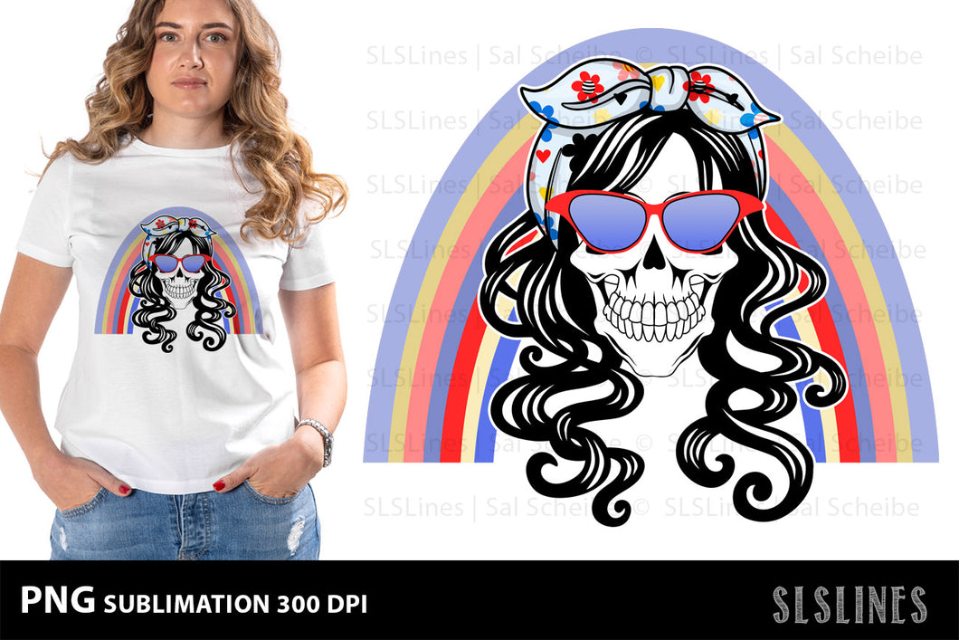 Mom Skull PNG Sublimation with Blue Rainbow