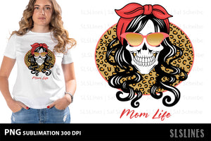 Momlife Skull PNG Sublimation with Leopard Print