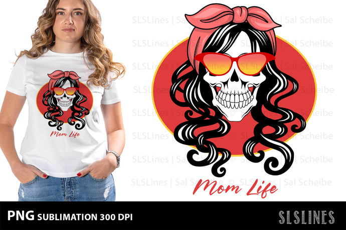 Momlife Skull PNG Sublimation in Red & Yellow