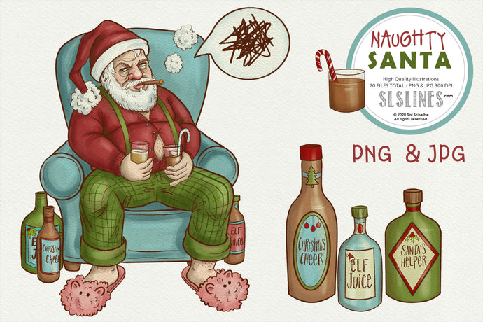 Naughty Santa Christmas Illustrations PNG