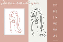 Load image into Gallery viewer, Line drawing Female Portrait SVG - Face 3