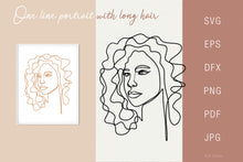 Load image into Gallery viewer, Line drawing Female Portrait SVG - Face 4