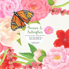 Load image into Gallery viewer, Peonies & Butterflies Watercolor Clipart - slslines