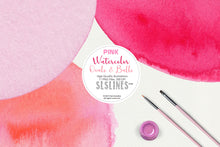 Load image into Gallery viewer, Pink Balls & Ovals Watercolor Shapes Clipart